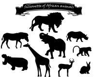 Silhouettes noires des animaux africains illustration de vecteur