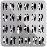 Silhouettes noires des couples, femme, homme Image stock