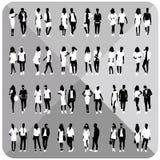 Silhouettes noires des couples, femme, homme Photographie stock libre de droits