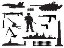 Silhouettes noires et blanches des forces armées Photos libres de droits