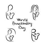 Silhouettes noires réglées de femme avec l'allaitement au sein de bébé Lettrage d'inscription Monde allaitant le jour Monde allai Images stock
