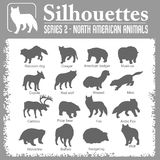 Silhouettes - North American animals. Royalty Free Stock Photo