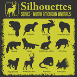 Silhouettes - North American animals. Royalty Free Stock Image