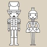 Nutcracker Soldier And Ballerina. Silhouettes of nutcracker soldier and ballerina on light grey background, isolated Royalty Free Stock Photos