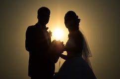 Silhouettes och profiler av bruden och brudgummen Royaltyfri Fotografi