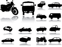 Free Silhouettes Of Cars, Motorcycles And Buses Stock Photo - 14592340
