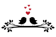Silhouettes Of Cute Birds Sing And Red Hearts Stock Photo