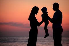 Silhouettes Of Family On Hands Against Sea Decline Stock Images