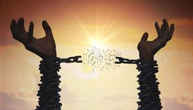 Free Silhouettes Of Hands Are Breaking Chain. Freedom Concept. Royalty Free Stock Photography - 140361447