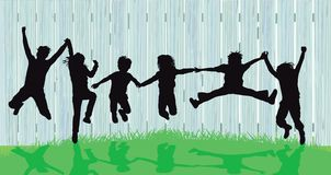 Free Silhouettes Of Kids Jumping Royalty Free Stock Photography - 150565917