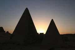 Silhouettes Of Meroe Pyramids Royalty Free Stock Photography