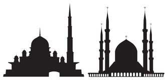 Silhouettes Of Mosques Royalty Free Stock Images