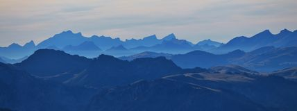 Silhouettes Of Mountains In The Swiss Alps Royalty Free Stock Image
