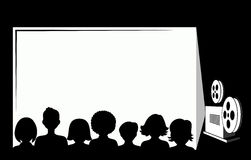Silhouettes Of People In The Cinema Stock Photos