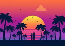 Silhouettes Of Tropical Summer Palm Trees, Surfer And The Beach On The Background Of A Gradient Sunset. Stock Photo