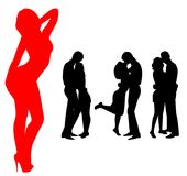 Silhouettes Of Two Lovers Stock Image