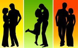 Silhouettes Of Two Lovers Royalty Free Stock Image