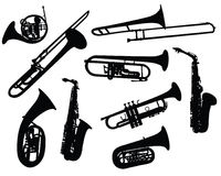 Silhouettes Of Wind Instruments Royalty Free Stock Image