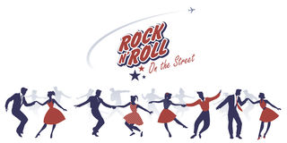 Free Silhouettes Of Young Couples Wearing 50`s Clothes Dancing Rock A Stock Photo - 90664260