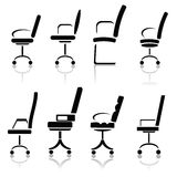 Silhouettes of office chairs Stock Photos