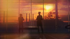 Silhouettes Of Office Employees On Different Floors stock illustration