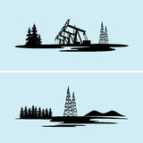 Silhouettes of oil and gas rigs in the natural environment. On the image  is presented  silhouettes of oil and gas rigs in the natural environment Stock Images