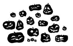 Silhouettes olantern de cric de potiron de Halloween Image stock