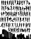 Silhouettes Over Skyline. 84 people silhouettes in various poses above a city skyline Stock Illustration