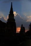 Silhouettes Pagoda Ayutthaya Royalty Free Stock Photo
