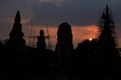 Silhouettes Pagoda Ayutthaya Royalty Free Stock Image
