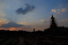 Silhouettes Pagoda Ayutthaya Stock Image