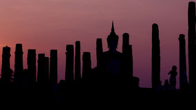 Silhouettes Pagoda Forest. Stock Photo