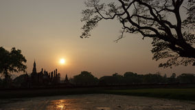 Silhouettes Pagoda Sukhothai. Royalty Free Stock Photo