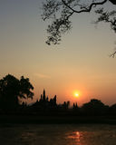 Silhouettes Pagoda Sukhothai. Royalty Free Stock Image