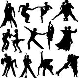 Silhouettes of the pairs dancing Royalty Free Stock Photography