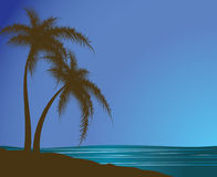 Silhouettes of palm trees against the sea Stock Images