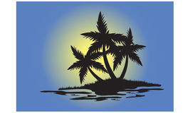 Silhouettes of palm trees in small island Stock Photography
