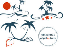 Silhouettes of palm trees Stock Photos