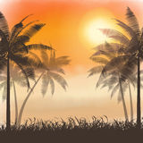 Silhouettes of palm trees on watercolor sunset Stock Photo