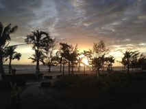 Silhouettes of palms on the sunset, sea beach. royalty free stock image