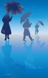 silhouettes paraplyer Fotografering för Bildbyråer