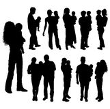 Silhouettes of parents with baby, vector stock image
