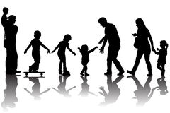 Silhouettes of parents with kids in the park. Over white Royalty Free Stock Images