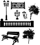 Silhouettes of park elements Stock Photos