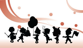 Silhouettes party children Stock Photo