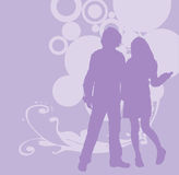 Silhouettes party couple Royalty Free Stock Images