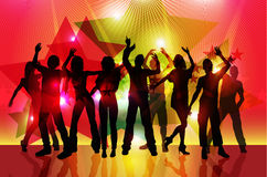 Silhouettes of party people dancing Royalty Free Stock Photo