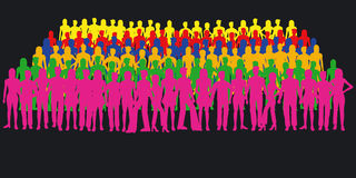 Silhouettes of people. Large crowd - additional ai and eps format available on request royalty free illustration