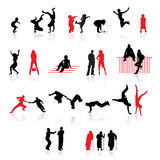 Silhouettes of people. Fun children, young couples, sport teens, old age Royalty Free Stock Photography
