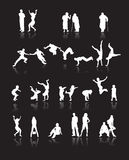 Silhouettes of people. Fun children, young couples, sport teens, old age, vector illustration Stock Photography